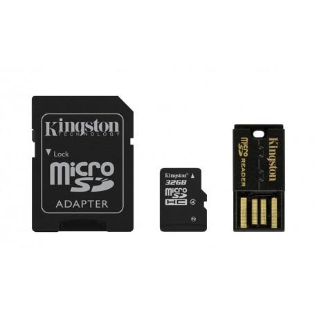 Mobility/Multi Kit 32GB: inclui MicroSDHC/microSD 32GB + Adaptador SD + Adaptador USB